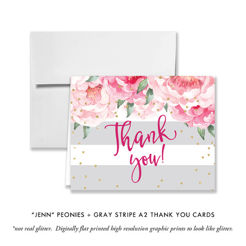 """Jenn"" Peonies + Gray Stripe Thank You Card"