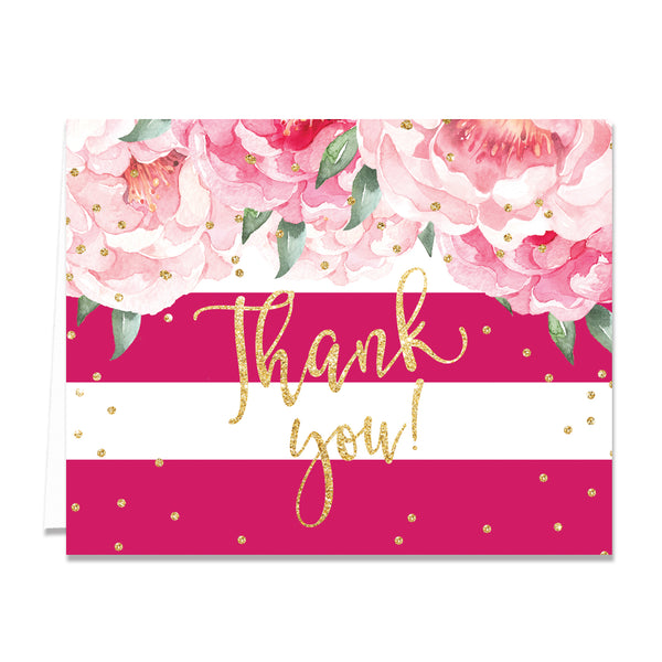 """Jenn"" Peonies + Magenta Stripe Thank You Card"