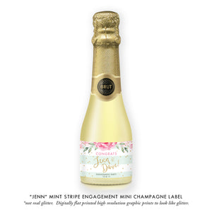 """Jenn"" Mint Stripe Engagement Champagne Labels"