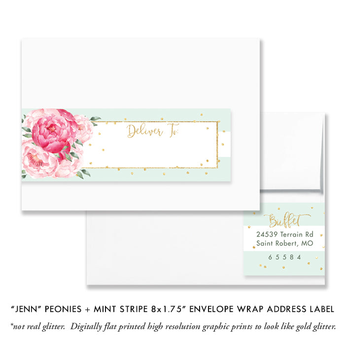"""Jenn"" Peonies + Mint Stripe Baptism Invitation"
