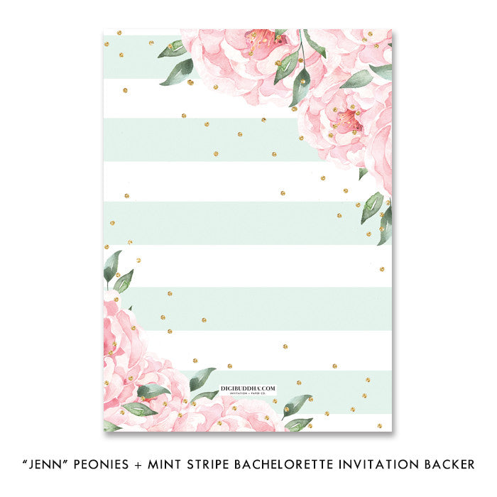 """Jenn"" Peonies + Mint Stripe Bachelorette Invitation"