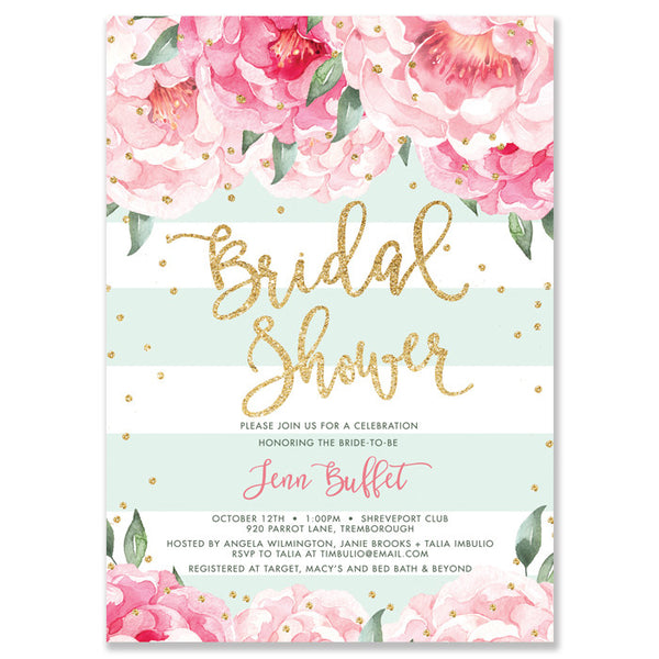 """Jenn"" Peonies + Mint Stripe Bridal Shower Invitation"