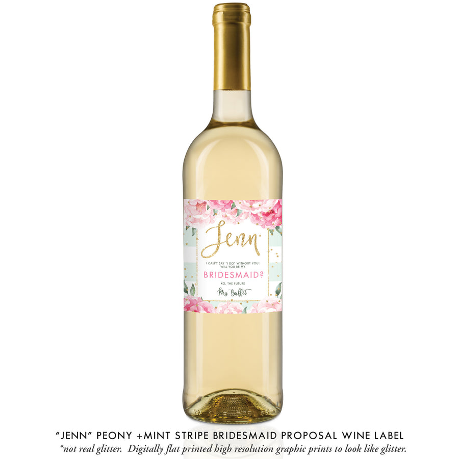 """Jenn"" Peony + Mint Stripe Bridesmaid Proposal Wine Labels"