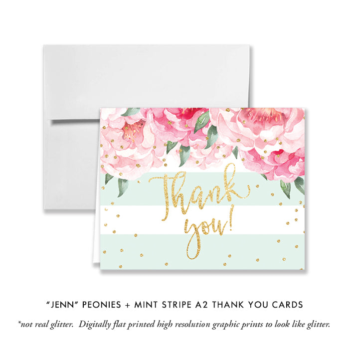 """Jenn"" Peonies + Mint Stripe Baby Shower Invitation"
