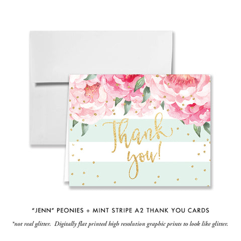 """Jenn"" Peonies + Mint Stripe Thank You Card"