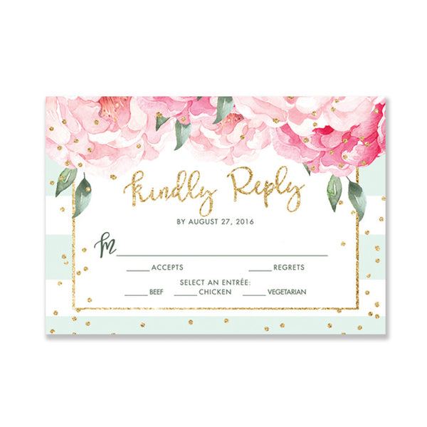 """Jenn"" Mint Striped RSVP Card"