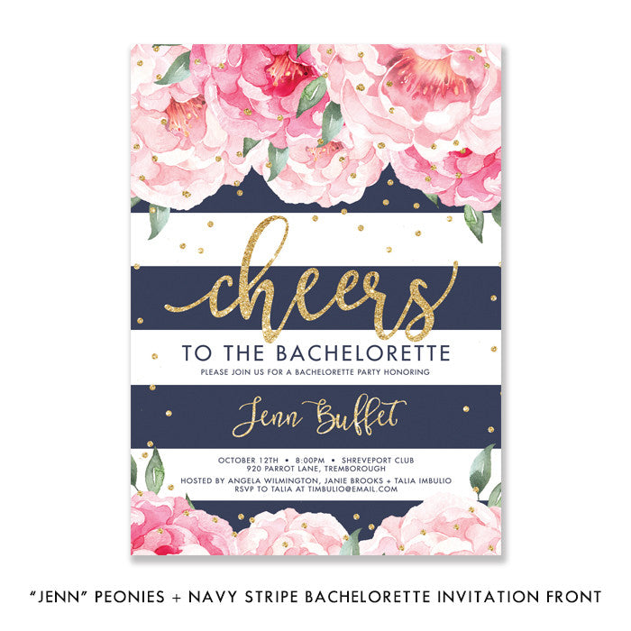 """Jenn"" Peonies + Navy Stripe Bachelorette Invitation"