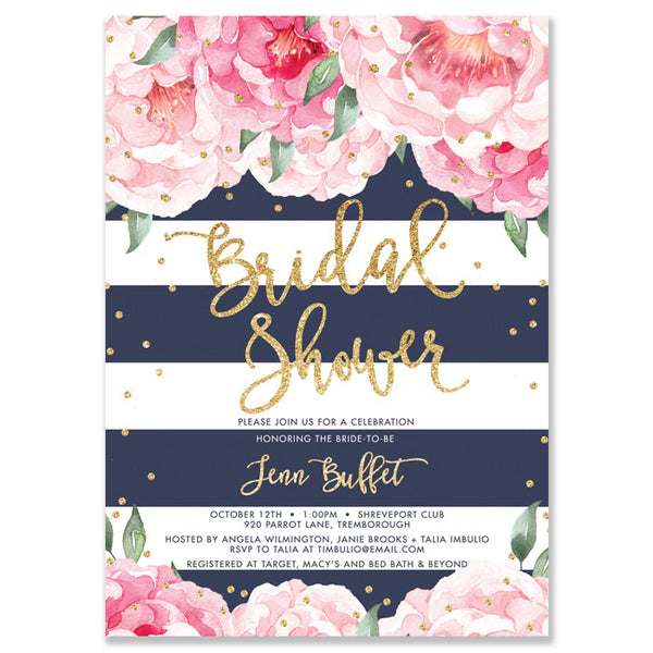"""Jenn"" Peonies + Navy Stripe Bridal Shower Invitation"