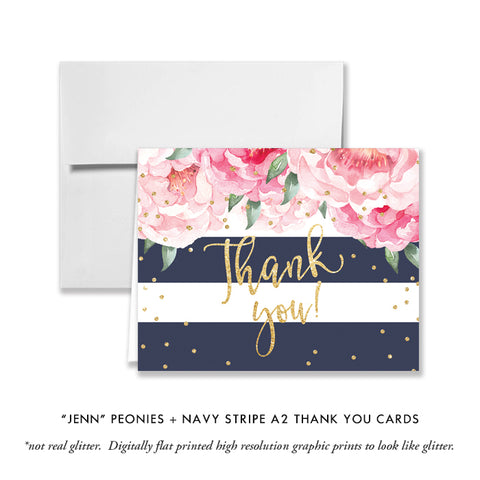 """Jenn"" Peonies + Navy Stripe Thank You Card"
