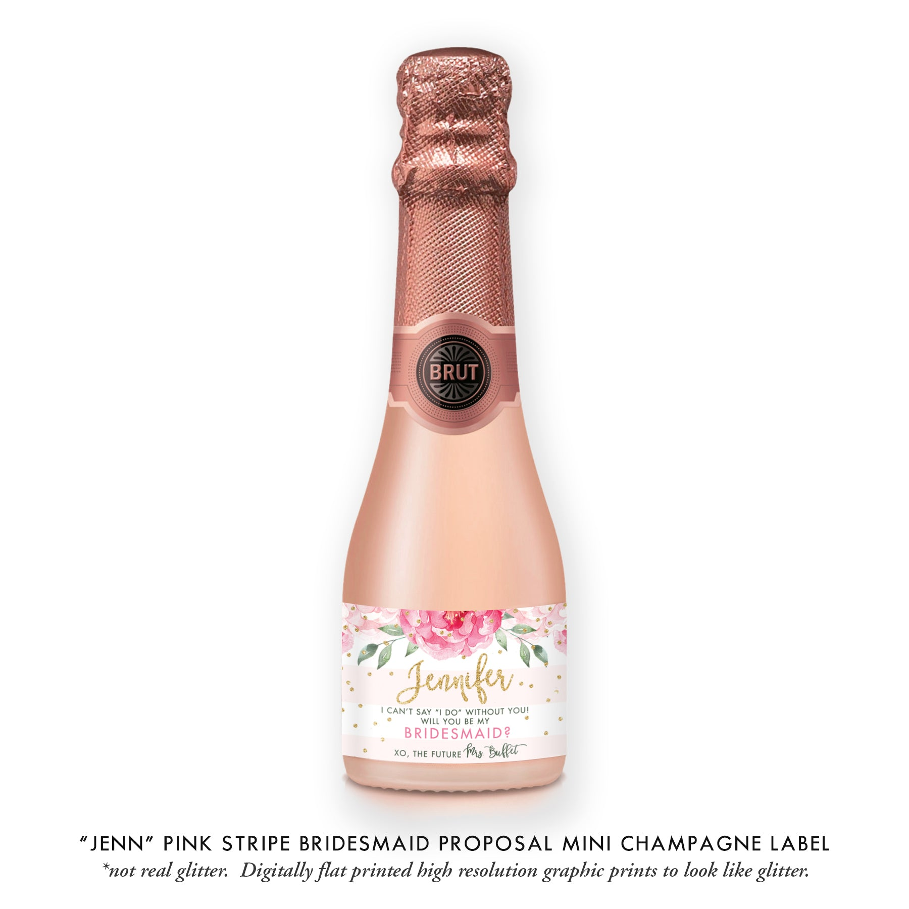 """Jenn"" Pink Stripe Bridesmaid Proposal Champagne Labels"