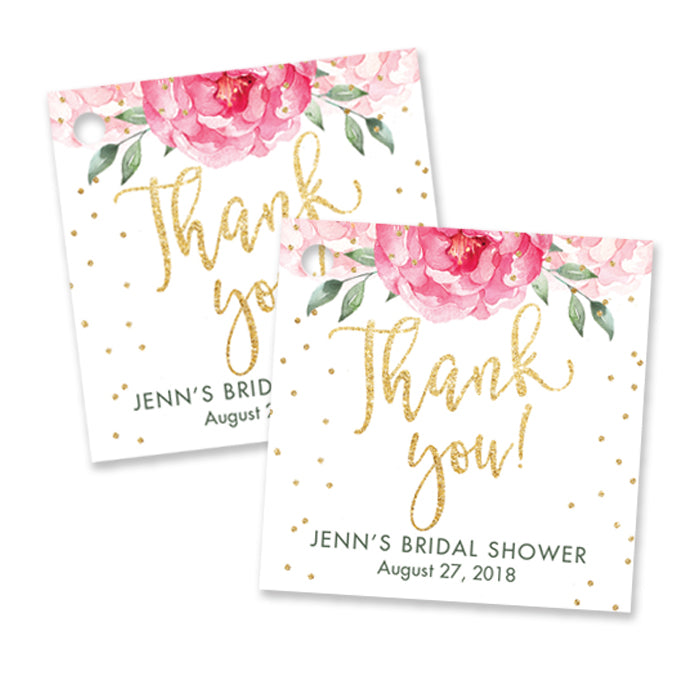 """Jenn"" Pink Blooms + Gold Bridal Shower Favor Tags"