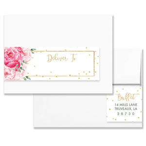 """Jenn"" Pink Blooms + Gold Envelope Wrap Address Labels"