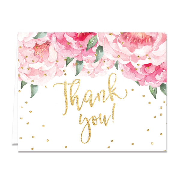 """Jenn"" Pink Blooms + Gold Thank You Card"