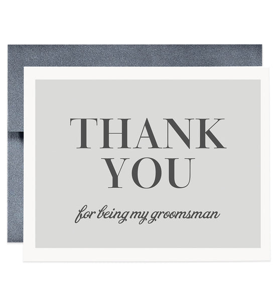 Thank You For Being My Groomsman Card, gray | Josh