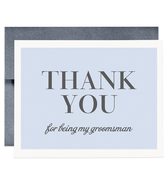 Thank You For Being My Groomsman Card, gray & blue | Josh