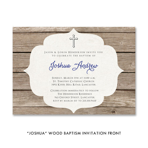 """Joshua"" Wood Baptism Invitation"