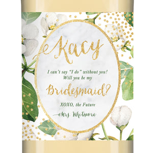 """Kacy"" Floral Bridesmaid Proposal Wine Labels"