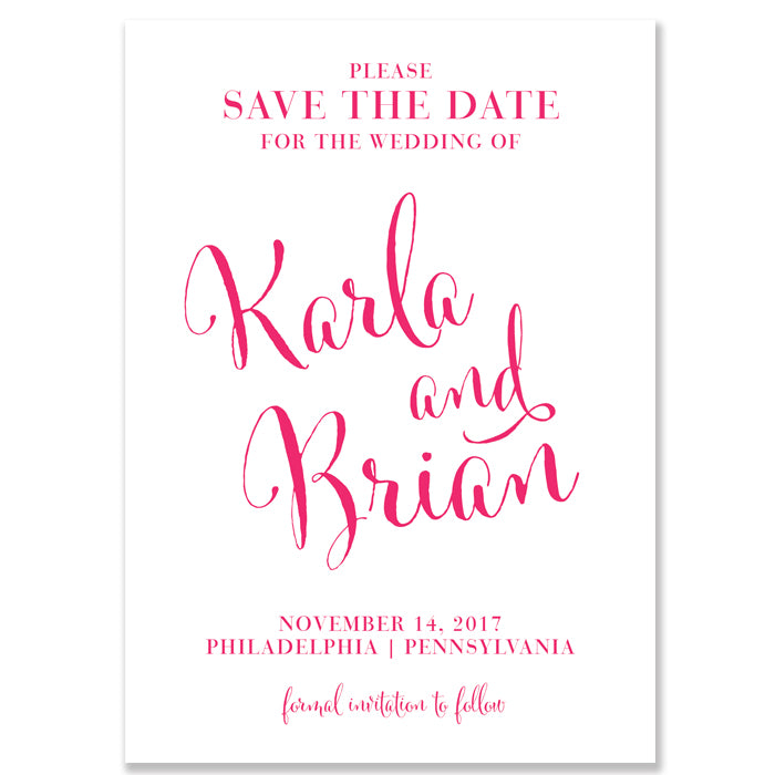"""Karla"" Pink + Animal Print Save The Date Card"