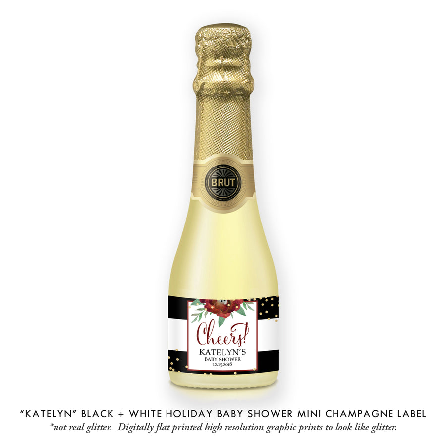 """Katelyn"" Black + White Holiday Baby Shower Champagne Labels"