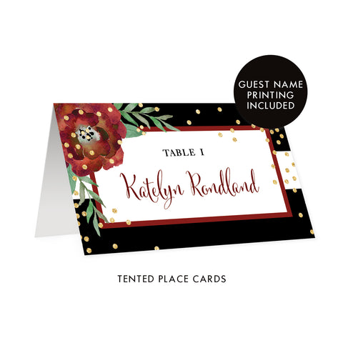 Black Striped Holiday Place Cards with Floral | Katelyn