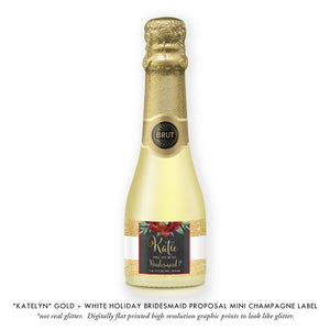 """Katelyn"" Gold Stripe Holiday Bridesmaid Proposal Champagne Labels"
