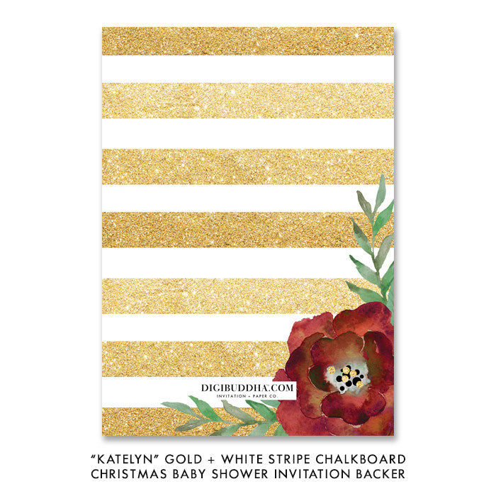 """Katelyn"" Gold + White Stripe Chalkboard Christmas Baby Shower Invitation"