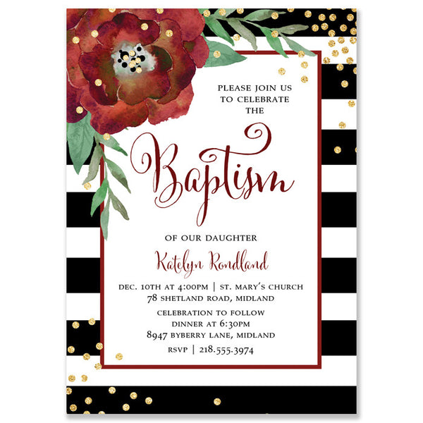 """Katelyn"" Black + White Stripe Christmas Baptism Invitation"