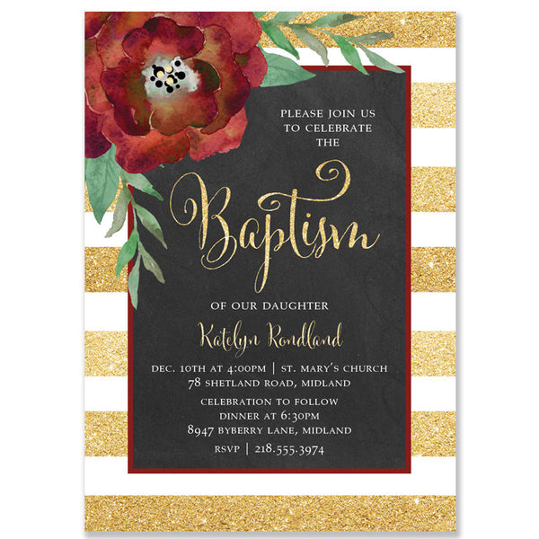 """Katelyn"" Gold + White Stripe Chalkboard Christmas Baptism Invitation"