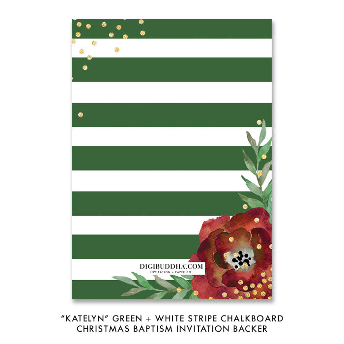 """Katelyn"" Green + White Stripe Chalkboard Christmas Baptism Invitation"