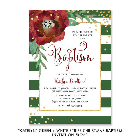 """Katelyn"" Green + White Stripe Christmas Baptism Invitation"