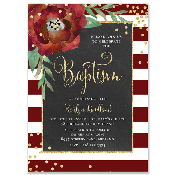 """Katelyn"" Red + White Stripe Chalkboard Christmas Baptism Invitation"