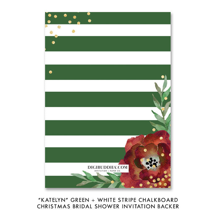 """Katelyn"" Green + White Stripe Chalkboard Christmas Bridal Shower Invitation"