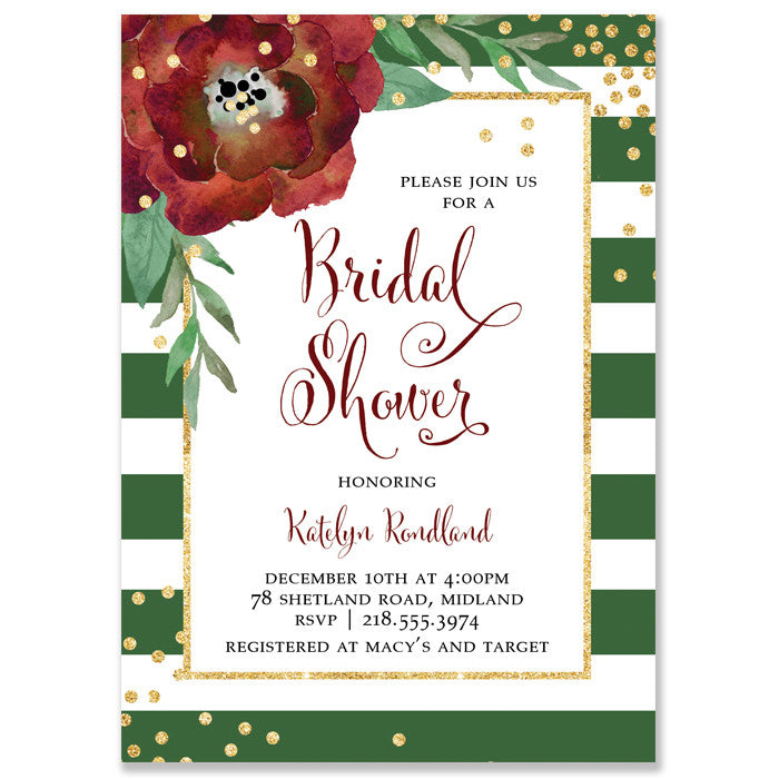 """Katelyn"" Green + White Stripe Christmas Bridal Shower Invitation"