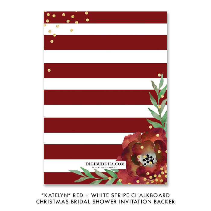"""Katelyn"" Red + White Stripe Chalkboard Christmas Bridal Shower Invitation"