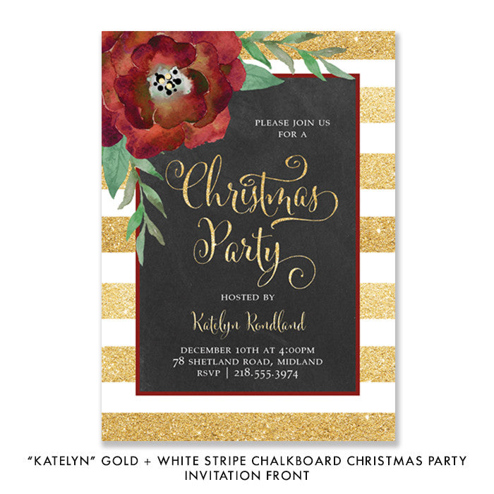"""Katelyn"" Gold + White Stripe Chalkboard Christmas Party Invitation"