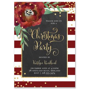 """Katelyn"" Red + White Stripe Chalkboard Christmas Party Invitation"