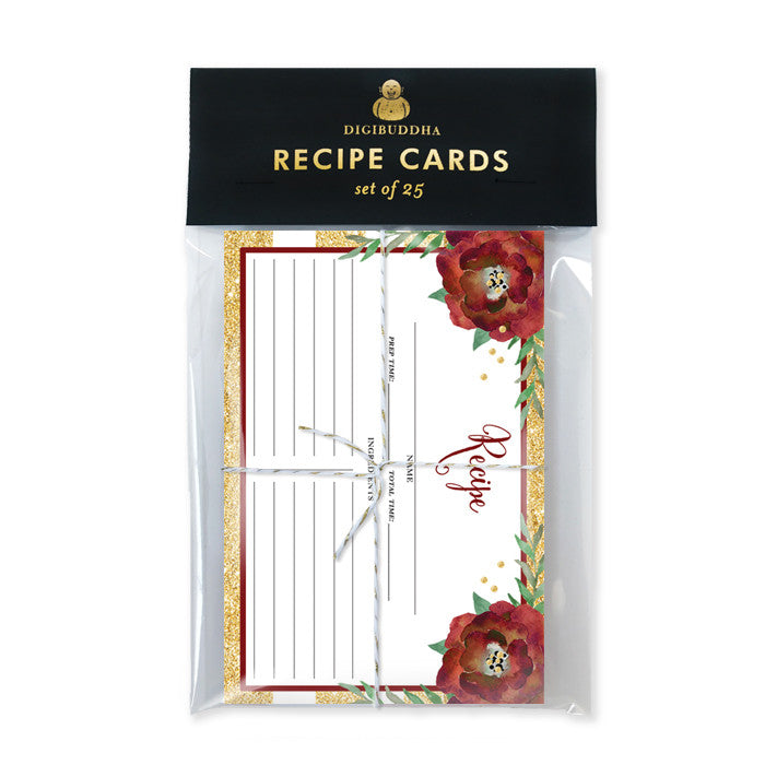 Floral + Stripe Recipe Cards |  Katelyn Gold
