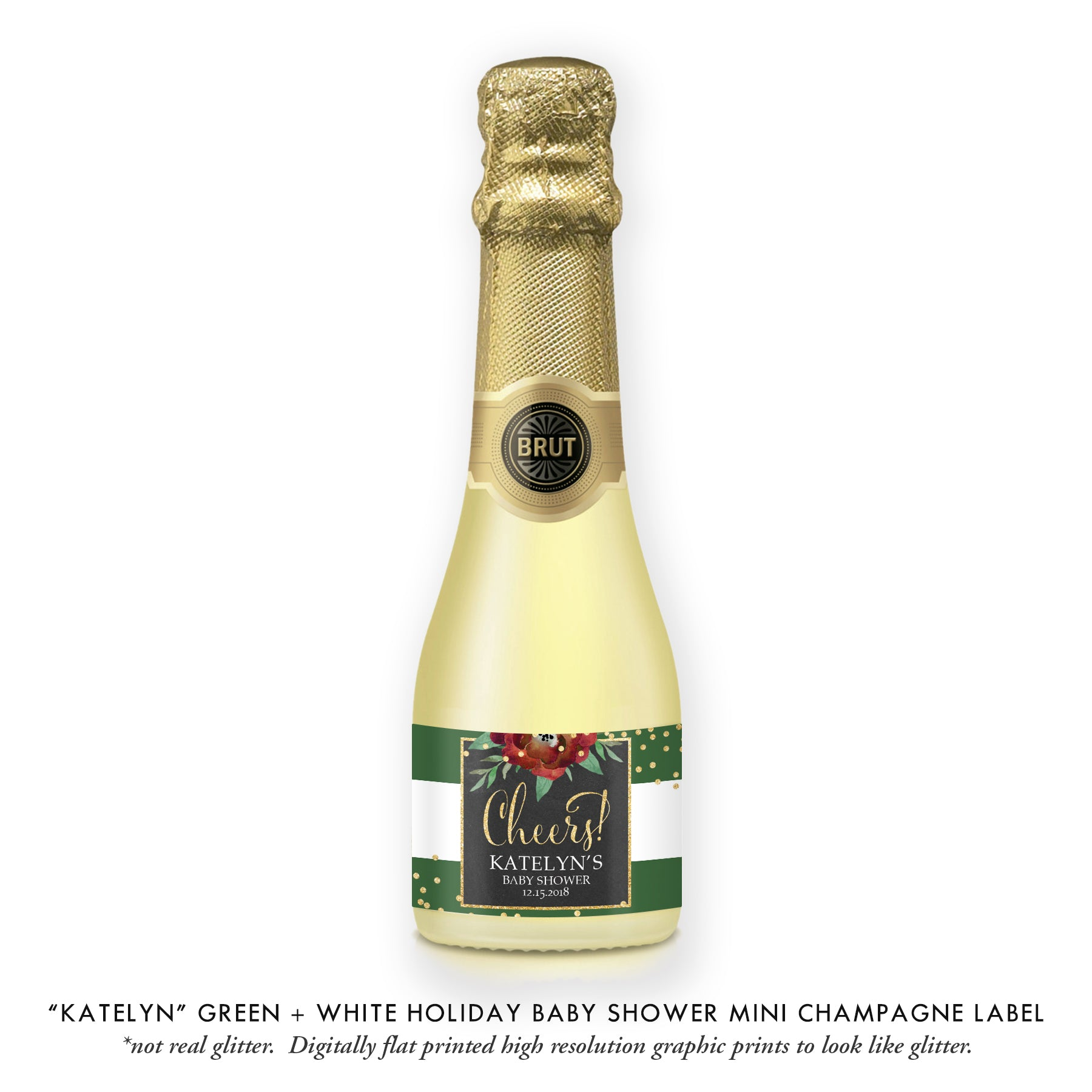 """Katelyn"" Green + Gold Holiday Baby Shower Champagne Labels"