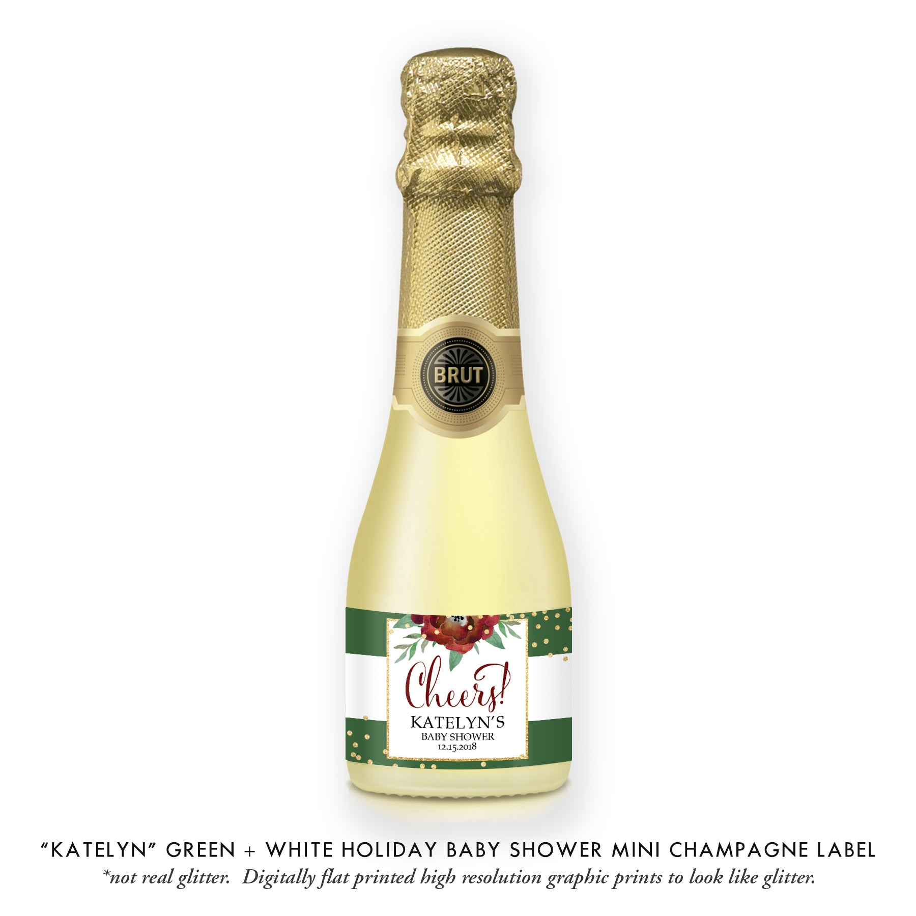 """Katelyn"" Green + White Holiday Baby Shower Champagne Labels"