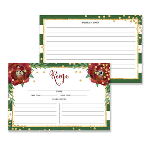 Floral + Stripe Recipe Cards |  Katelyn Green
