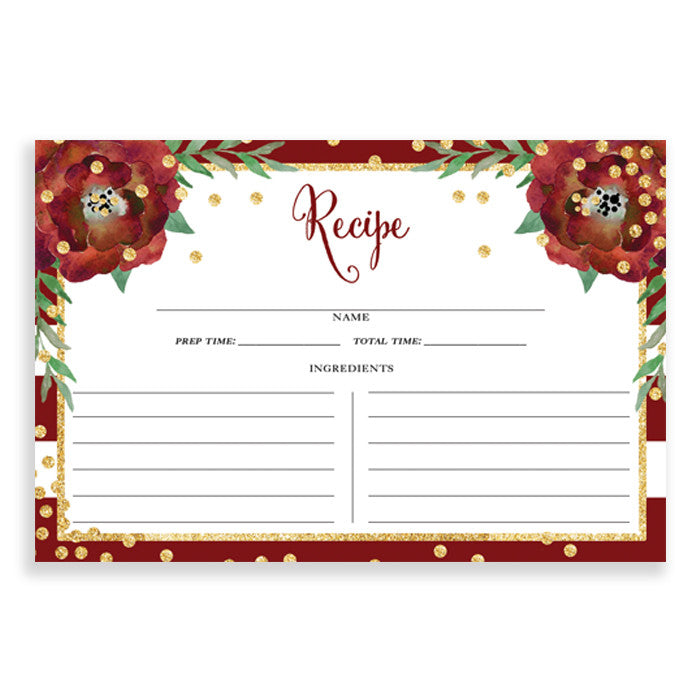 Floral + Stripe Recipe Cards |  Katelyn Red