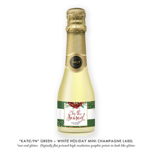 """Katelyn"" Green + White Holiday Champagne Labels"