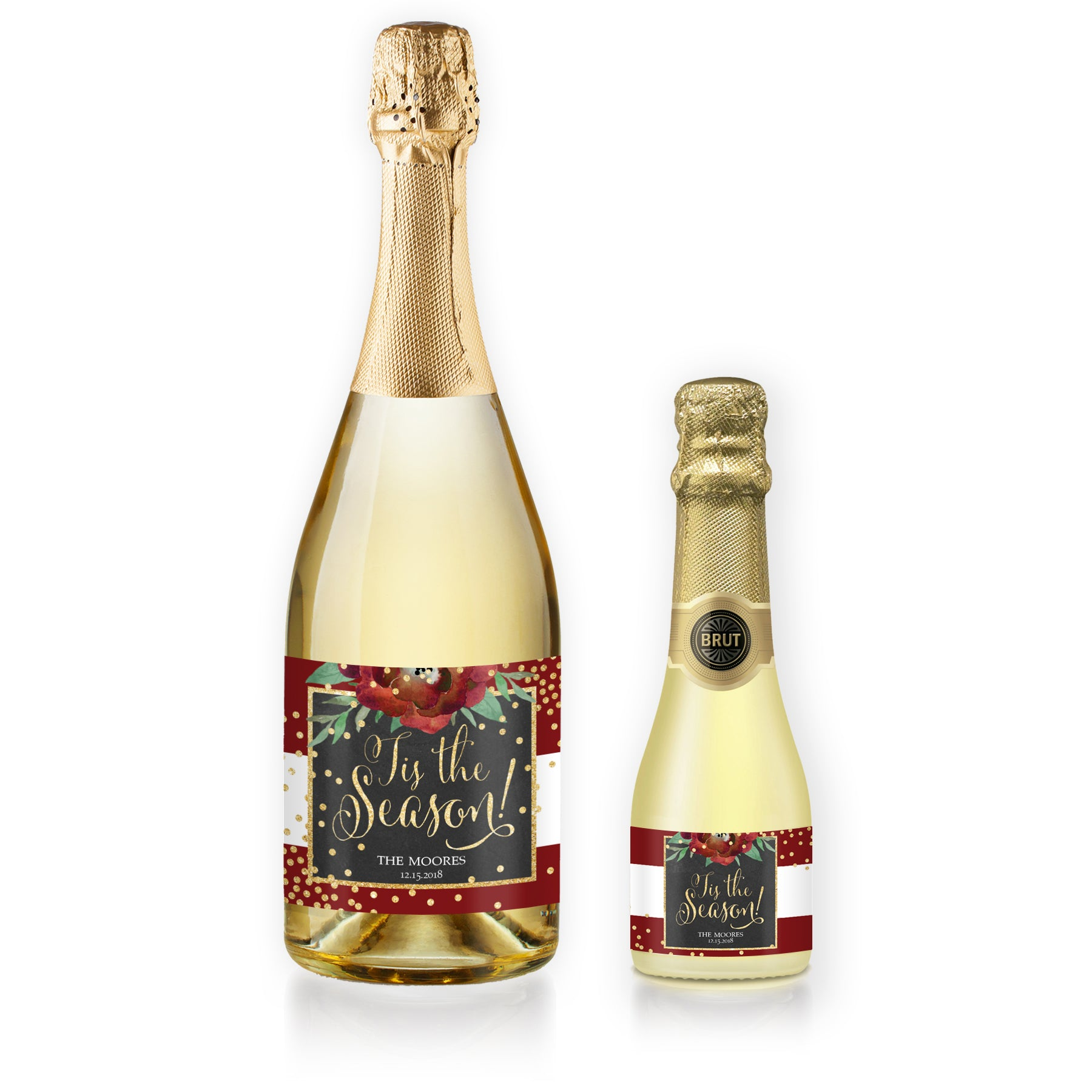"""Katelyn"" Red + White Holiday Champagne Labels"