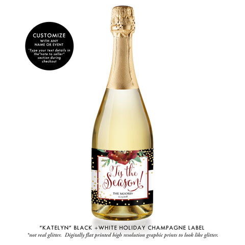 """Katelyn"" Black + White Holiday Champagne Labels"