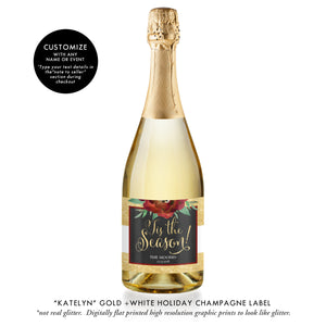"""Katelyn"" Gold Stripe Holiday Champagne Labels"