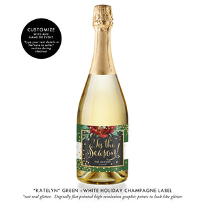 """Katelyn"" Green + Gold Holiday Champagne Labels"