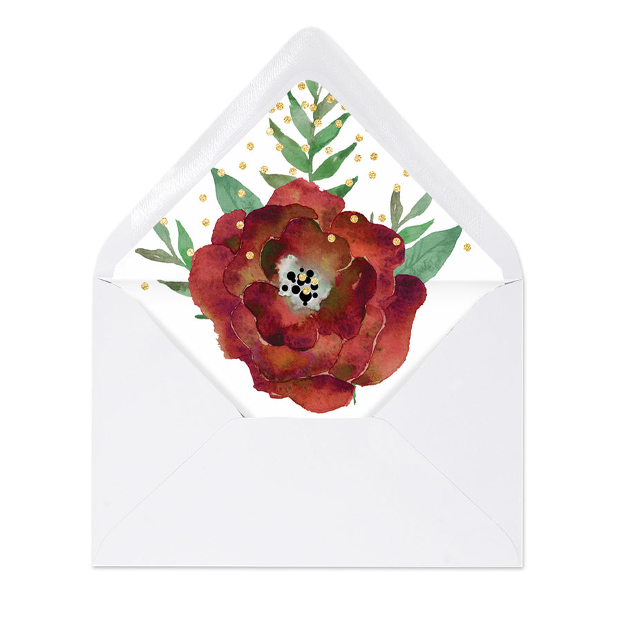 """Katelyn"" Floral + Gold Sprinkles Envelope Liners"