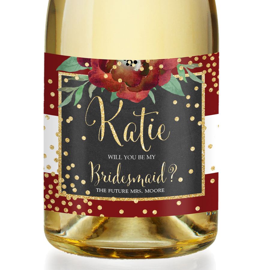 """Katelyn"" Red + White Holiday Bridesmaid Proposal Champagne Labels"