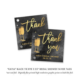 """Katia"" Black Tie Dye Brunch + Bubbly Bridal Shower Invitation"