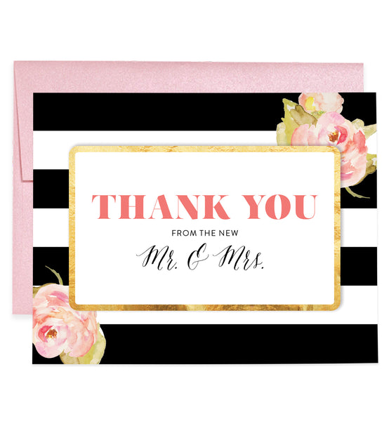 Newlywed Thank You Cards Black & White Stripes